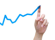 Hand and graph Royalty Free Stock Image