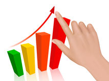Hand with graph. Concept of success. Vector Stock Images