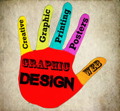 Hand graphic Design sign  retro Stock Photo