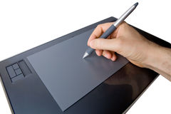 Hand on Graphic Tablet Royalty Free Stock Photos