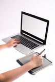 Hand on graphic tablet Stock Photography