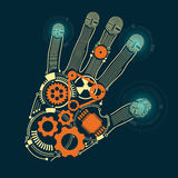 Hand. Graphic of a hand in technological look Stock Images