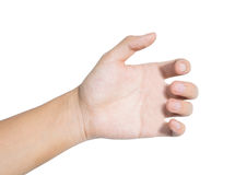 Hand grasp. Mobile phone or other palm gadget, isolated on white Royalty Free Stock Photo