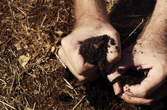 Hand grasping a dry patch of earth Stock Images