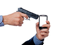 Hand and cellular telephone Stock Photos
