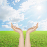 Hand and Grass fields and sun sky Royalty Free Stock Photography