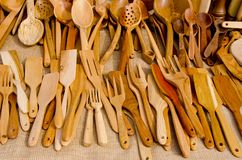 Hand graven wooden tools. Royalty Free Stock Photo