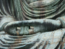 The hand of great buddha (Daibutsu) close up shot, Kamakura, Jap Stock Photo