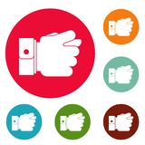 Hand greed icons circle set vector. Isolated on white background Royalty Free Stock Images