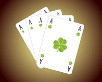 Hand of Green Aces Royalty Free Stock Image