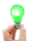 Hand with green bulb Stock Photography