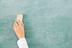 Hand on green chalk board Royalty Free Stock Images