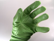 Hand in Green Glove Stock Photo