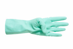 Hand in green glove count to four Royalty Free Stock Photography