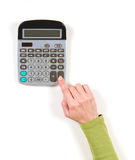 Hand in green jacket and grey calculator Royalty Free Stock Photography