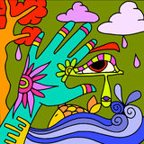 Hand green and purple fish Stock Image