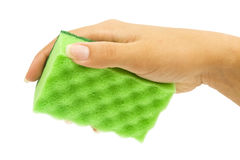 Hand with green sponge Royalty Free Stock Photo