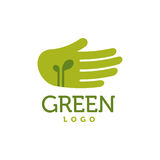 Hand with green sprouts logo. Care concept. Hand with green sprouts logo. Charity, ecology, environment, care concept vector Stock Image