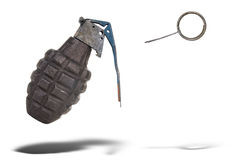 Hand grenade. With pin pulled floating over a white background Royalty Free Stock Photos