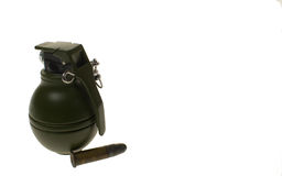 Hand Grenade. And ammunition on white background,isolated cut out Stock Image
