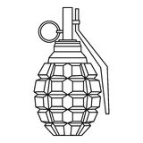 Hand grenade, bomb explosion icon, outline style Stock Image