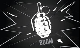 Hand grenade, bomb explosion, weapons army weapon. Boom bang vector royalty free illustration