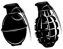 Hand grenade, bomb explosion, weapons army weapon. Vector Stock Image