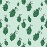 Hand grenade bomb explosion weapons seamless pattern vector illustration Stock Image