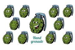 Hand grenade emotions emoticons set isolated on white background. Comic book cartoon pop art illustration retro vector Stock Photo
