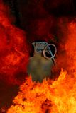 Hand Grenade Explosion. Explosion and flames surrounding hand grenade Stock Photography