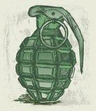 Hand grenade. Grunge style. Vector royalty free illustration