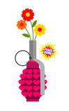 Hand grenade with hearts. Army equipment. Pink military ordnance. Army missile for love. World love bomb inside. Weapons Of  Hippies. Flowers in military ammo Royalty Free Stock Photo