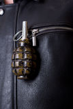 Hand grenade in  jacket`s pocket. Royalty Free Stock Photos