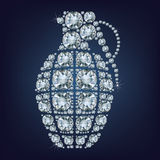 Hand grenade  made up a lot of diamonds Stock Images