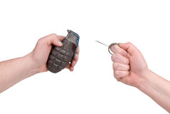 Hand grenade with pin Stock Images