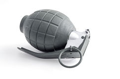Hand Grenade with Pin. A hand grenade with pin still attached.  Isolated on white Royalty Free Stock Photo