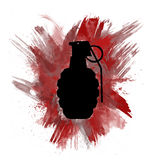 Hand Grenade Silhouette With Painted Red Color Burst. Artistic illustration of a military hand grenade silhouette on a painted red color burst splatter Royalty Free Stock Photo