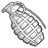 Hand grenade sketch Royalty Free Stock Photography