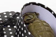 Hand Grenade Terrorism. US Military hand grenade in a black and white polka dotted gift box.  Terrorism Stock Photography
