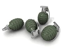 Hand grenades. Some hand grenades on a white background Stock Photo