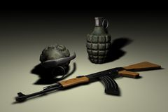 Hand grenades and AK-47 Stock Image