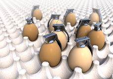 Hand grenades in common egg packaging, boxing Stock Photos