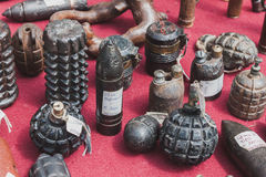 Hand grenades,on display at Militalia in Milan, Italy Stock Images