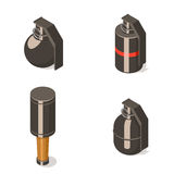 Hand grenades set  on white background. Isometric vector illustration Stock Image