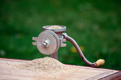 Hand Grinder. A small hand grinder for grinding grain, corn etc Stock Photos