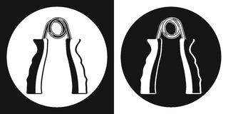 Hand grip trainer icon. Silhouette hand grip trainer on a black and white background. Sports Equipment. Vector Illustration. Stock Photos