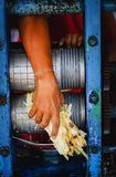Hand gripping sugarcane remain. Hand gripping the sugarcane remain Stock Images