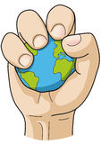 Hand grips the world. Illustration of a hand gripping the world Stock Photos