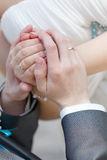 Hand of the groom and the bride with wedding rings Royalty Free Stock Image