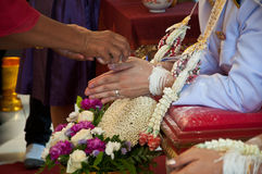 Hand of a groom receiving holy water from elders in thai wedding Stock Image